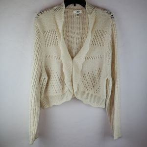CATO WOMAN Cream Open Knit Cropped Cardigan